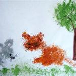 Рисунок мятой бумагой Котенок и мышлнок