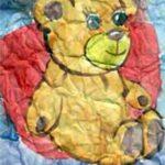 Рисунок по мятой бумаге медведь