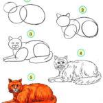 Схема рисования кота
