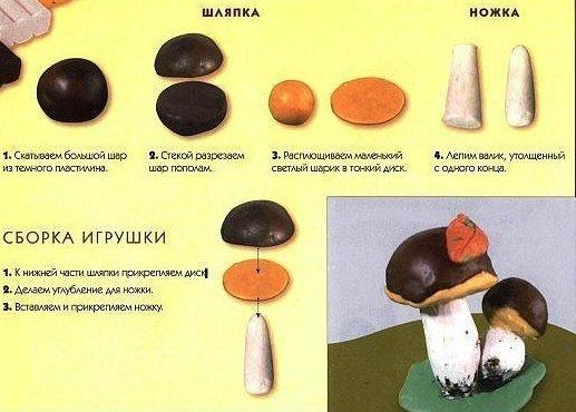 Шаги по лепке гриба-боровика