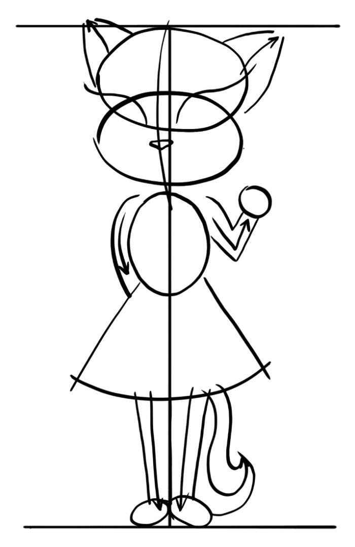 figura-anzhely-na-fone-vspomogatelnyh-liniy-700x1076 Как нарисовать котенка карандашом поэтапно для начинающих и детей? Как нарисовать котенка аниме с милыми глазками, мордочку котенка?