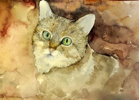 Кошка, нарисованная акварелью