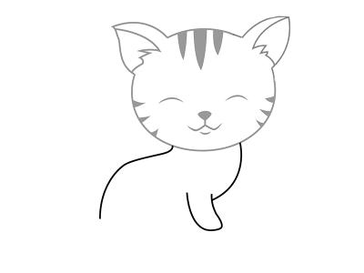 Котёнок-тигрёнок со спинкой и передней лапкой