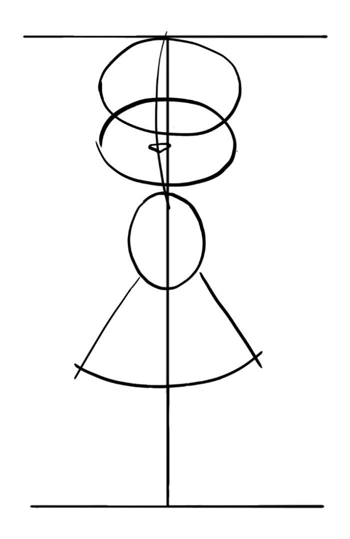 na-vertikalnom-otrezke-tri-ovala-i-trapeciya-700x1076 Как нарисовать котенка карандашом поэтапно для начинающих и детей? Как нарисовать котенка аниме с милыми глазками, мордочку котенка?