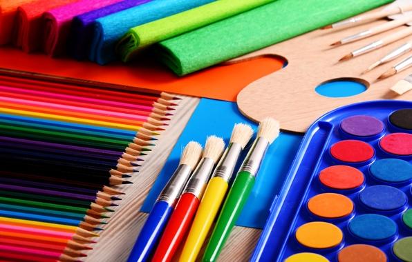 Набор цветных карандашей, кисточки, краски