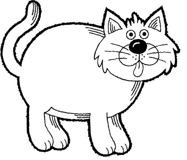 raskraska-s-tolstym-kotom Как нарисовать котенка карандашом поэтапно для начинающих и детей? Как нарисовать котенка аниме с милыми глазками, мордочку котенка?