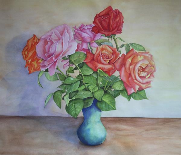 Акварельные розы в вазе