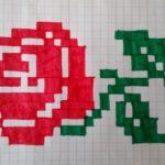 Лежащая роза по клеткам