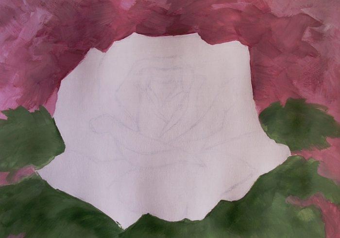 Роза гуашью, фото 4