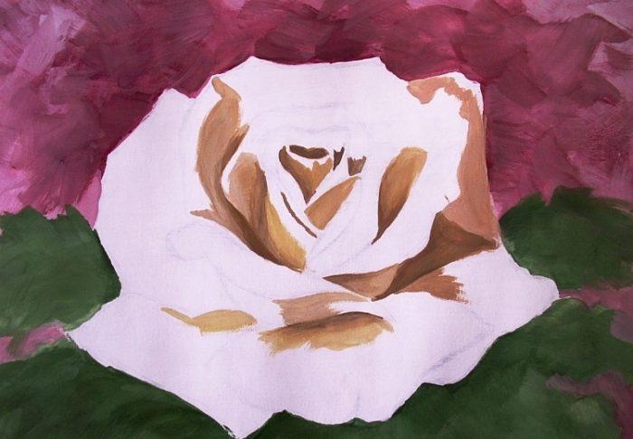 Роза гуашью, фото 6