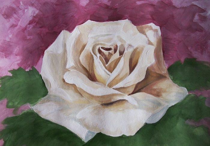 Роза гуашью, фото 8