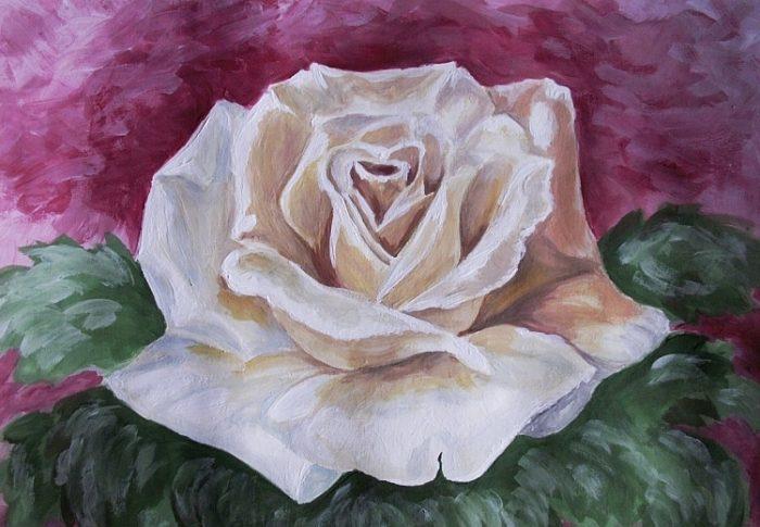 Роза гуашью, фото 9