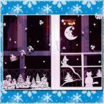 Вытыканки на окне ёлки, месяц, звёзды, кошка, щенок, сани с Дедом Морозом