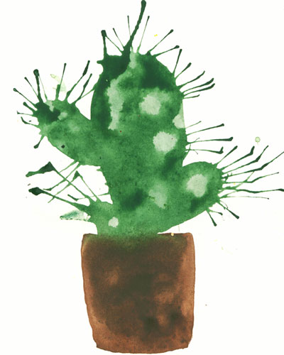 Рисунок кактуса в горшочке, выполненный в технике кляксографии