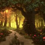 Светящийся лес с красными мухоморами