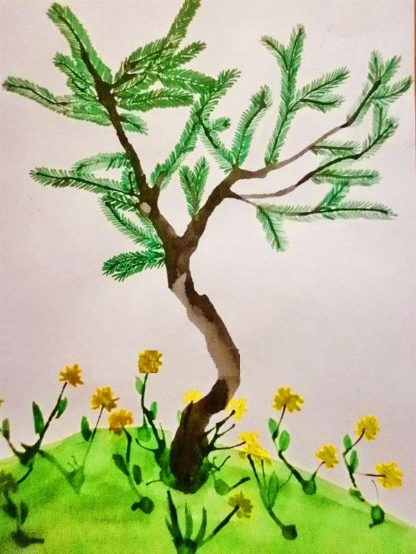 Рисунок сосны на полянке с жёлтыми цветами