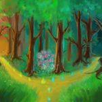 Таинственный лес со светящимися бабочками