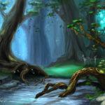 Волшебный лес с большими деревьями