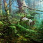 Заколдованный лес с кроваткой, спрятанной посреди корней