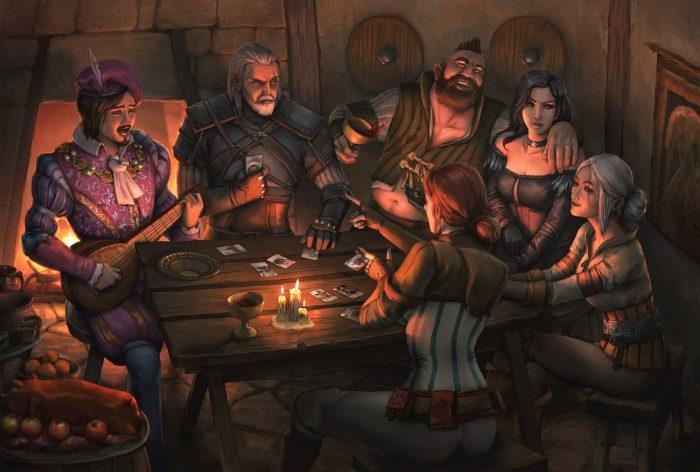Персонажи книг «Ведьмак» за столом