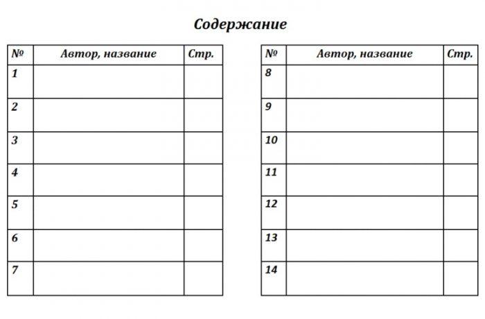 Пример содержания в читательском дневнике