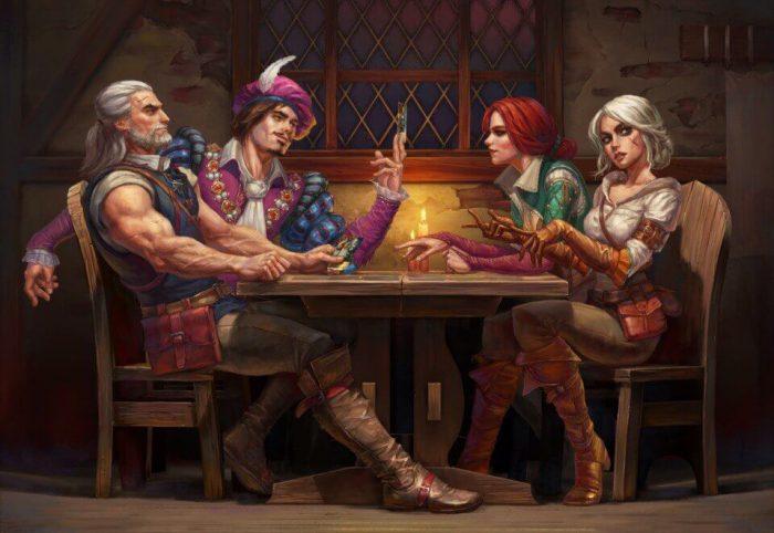 Ведьмак, Лютик, Трисс и Цирилла за столом