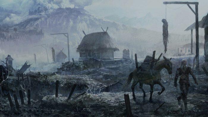 Ведьмак проходит по разрушенному поселению