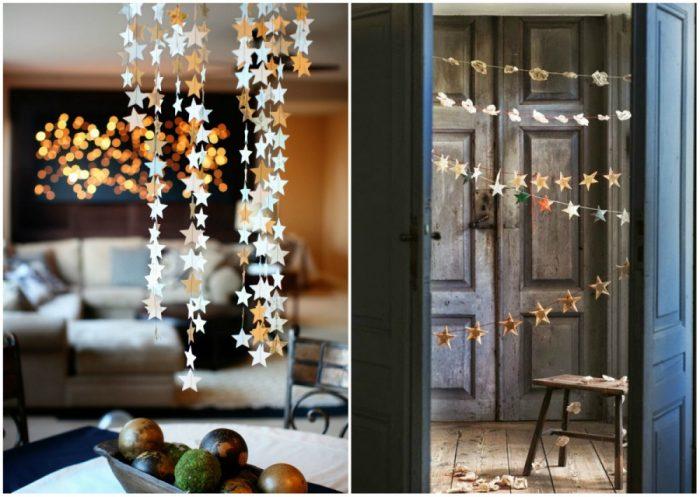 Идеи для украшения дома на Новый год — гирлянды из звёзд