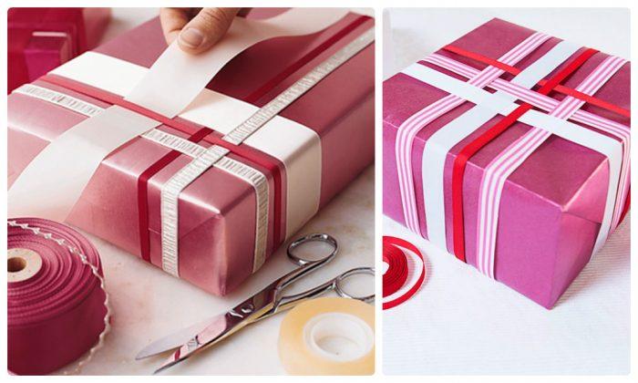 Новогодние подарки − упаковка лентами