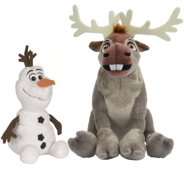 Мягкие игрушки − снеговик и олень