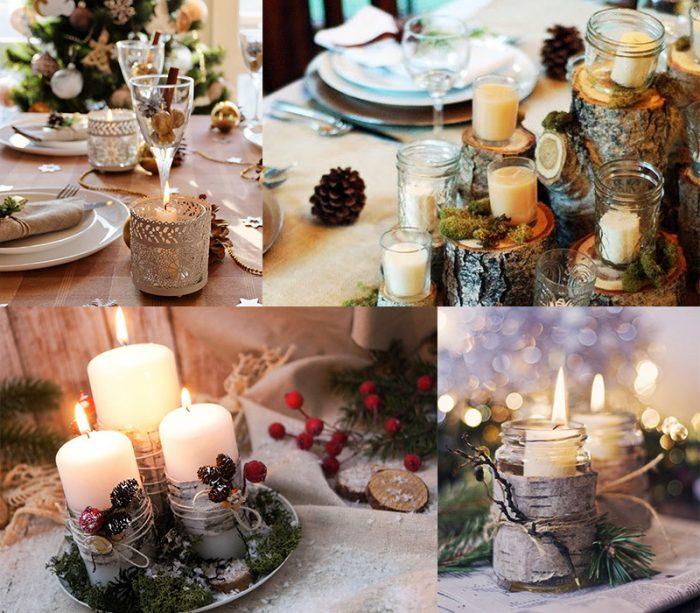 Оригинальное украшение стола на Новый год
