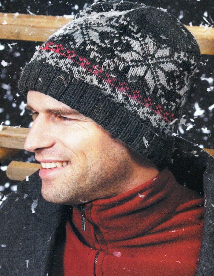 Мужская шапка новогодняя