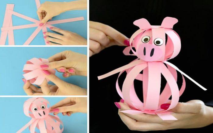 бумажная свинка своими руками