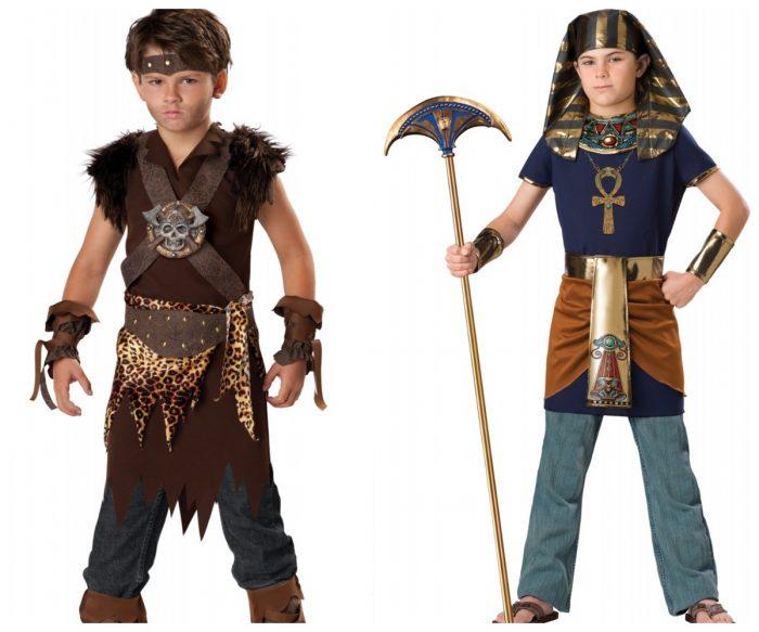 Мальчик в костюме Конана-варвара и мальчик в образе фараона