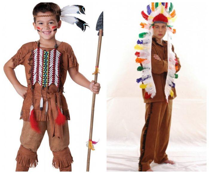 Мальчики в костюмах индейцев