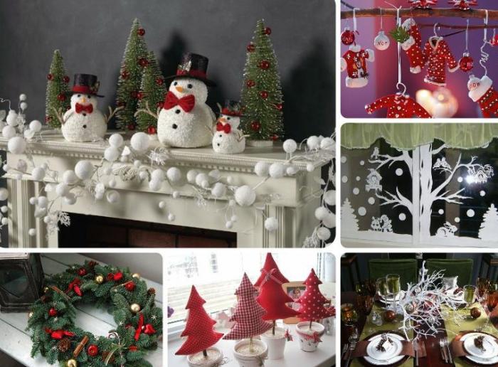 Идеи для украшения дома на Новый год — снеговики, ёлки, венки, окно, стол