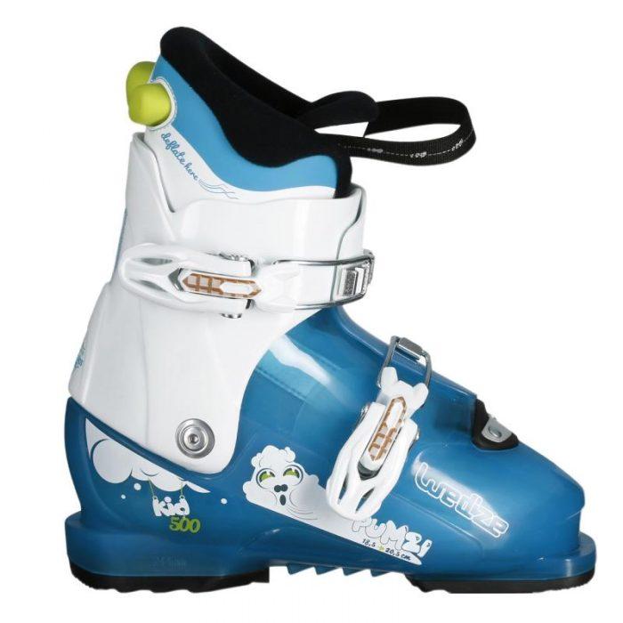 Детские ботинки для лыж белые с голубым