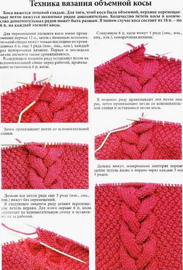 Схема вязания косички для носков