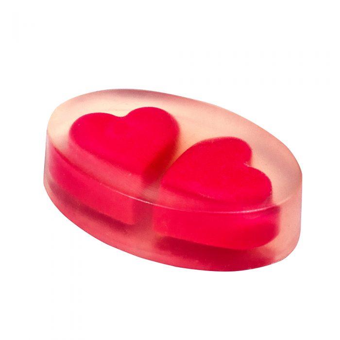 Прозрачное мыло с сердечками внутри