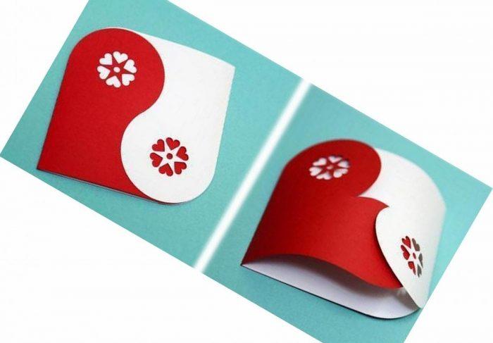 Красно-белая открытка