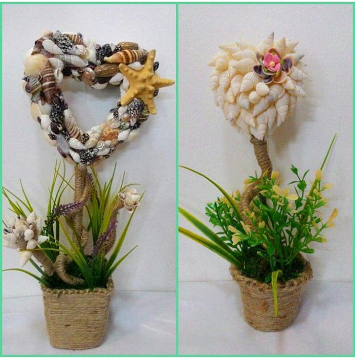 Праздничные топиарии из ракушек, собранных прошлым летом