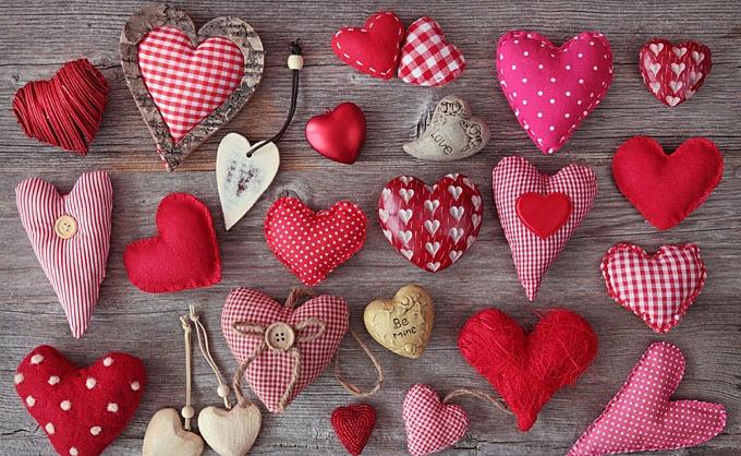 Сердечки из разной ткани