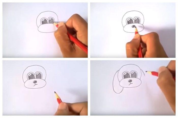 Рисование морды собаки для ребёнка