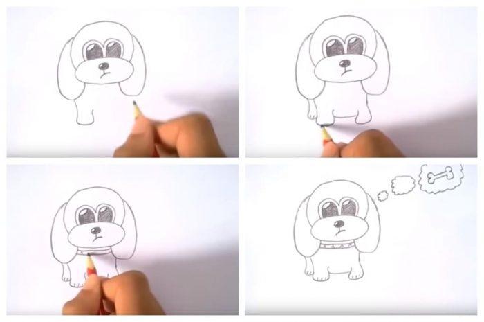 Рисование собаки для ребёнка