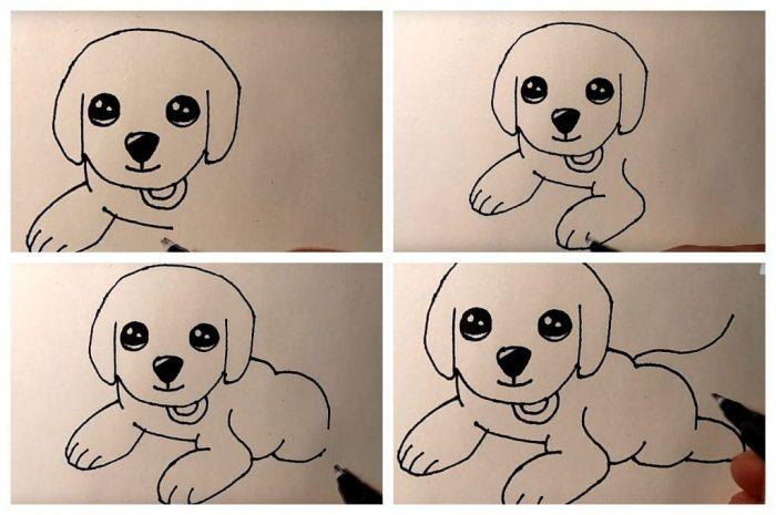Поэтапная схема рисунка лежащей собаки